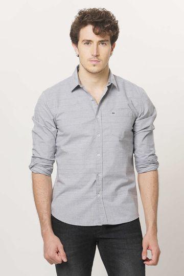 Basics   Basics Slim Fit Neutral Grey Weft Stripes Shirt