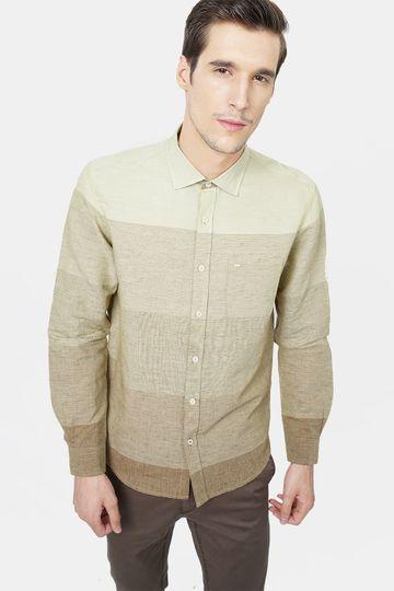 Basics | Basics Slim Fit Marzipan Khaki Weft Stripes Shirt