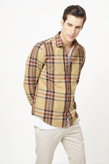 Basics | Basics Slim Fit Lark Khaki Checks Shirt