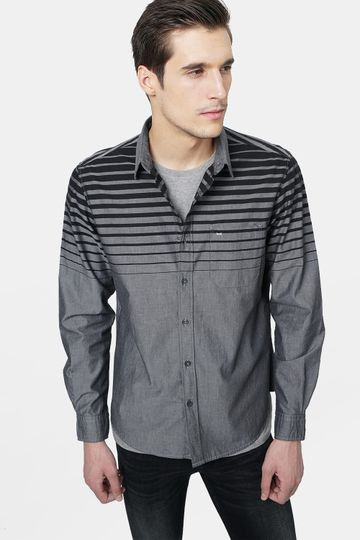 Basics | Basics Slim Fit Pirate Black Weft Stripes Shirt