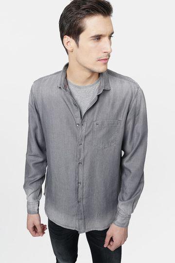 Basics   Basics Slim Fit Quiet Shade Indigo Tencel Shirt