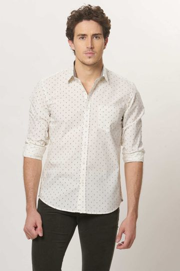 Basics   Basics Slim Fit Off White Printed Shirt