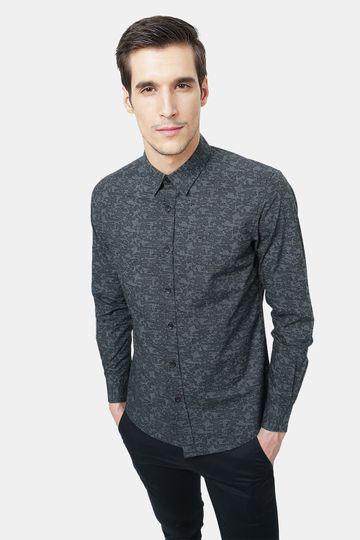 Basics   Basics Slim Fit Torrnado Grey Printed Shirt