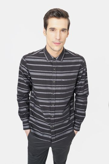 Basics | Basics Slim Fit Java Brown Weft Stripes Shirt