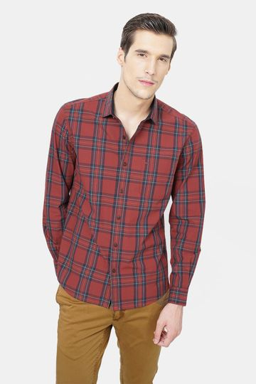 Basics | Basics Slim Fit Sundried Red Checks Shirt