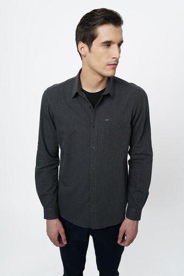 Basics | Basics Slim Fit Black Ink Melange Shirt