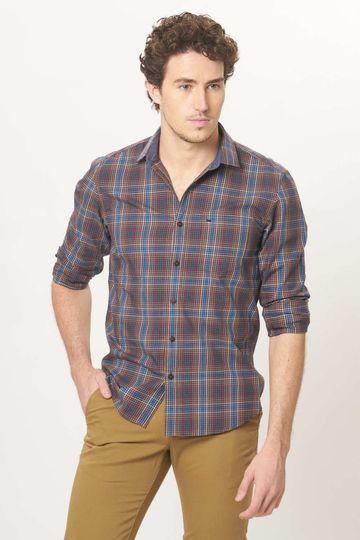 Basics | Basics Slim Fit Butternet Beige Checks Shirt