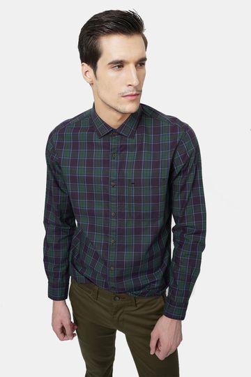 Basics | Basics Slim Fit Bronze Green Checks Shirt