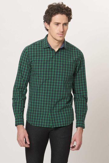 Basics | Basics Slim Fit Juniper Green Checks Shirt