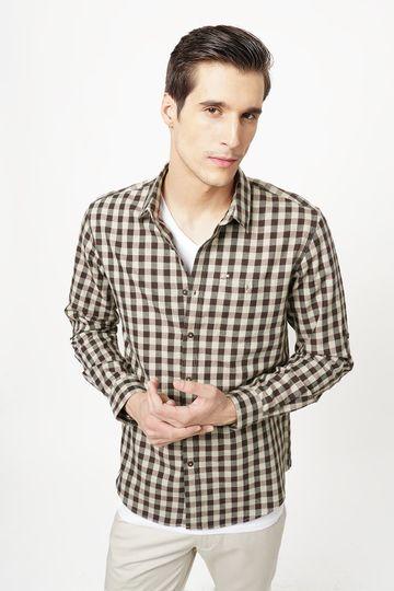 Basics | Basics Slim Fit Chestnut Brown Checks Shirt
