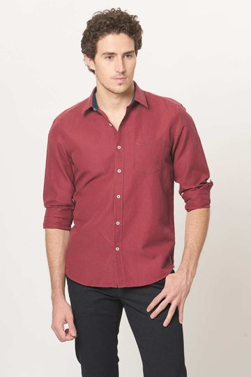 Basics   Basics Slim Fit Salsa Red Cotton Linen Shirt