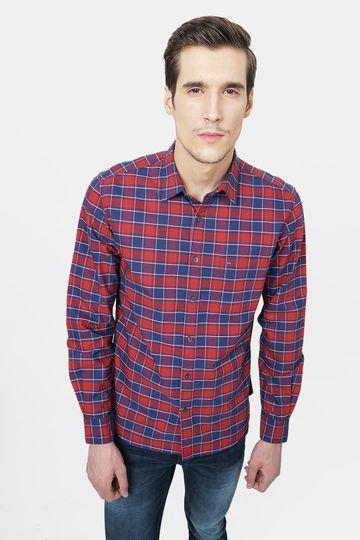 Basics | Basics Slim Fit Garnet Red Checks Shirt