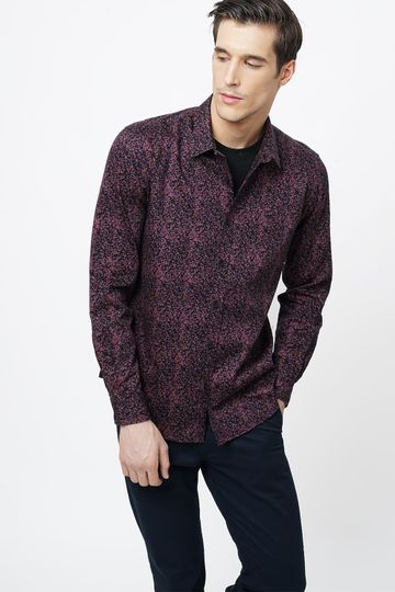 Basics | Basics Slim Fit Baked Pink Printed Shirt