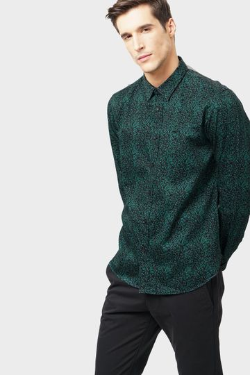 Basics | Basics Slim Fit Posy Green Printed Shirt
