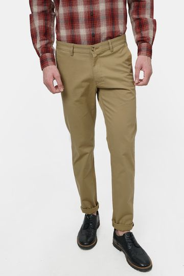 Basics | Basics Tapered Fit Lark Khaki Stretch Trouser