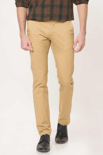 Basics | Basics Slim Fit Curry Khaki Cotton Trouser