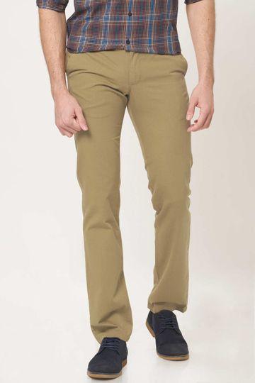 Basics | Basics Slim Fit Breen Khaki Cotton Trouser