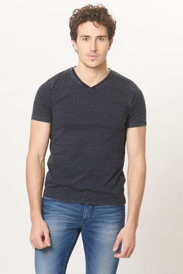 Basics   Basics Muscle Fit Cosmos Black V-Neck T.Shirt