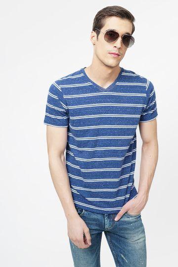 Basics   Basics Muscle Fit Estate Blue V Neck T.Shirt
