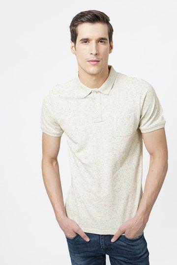 Basics | Basics Muscle Fit Butter Cream Neps Polo T.Shirt