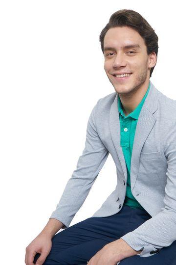 Basics | Basics Comfort Fit Glacier Grey 2 Button Knit Blazer