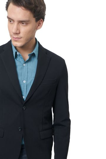 Basics | Basics Comfort Fit Jet Black 2 Button Knit Blazer