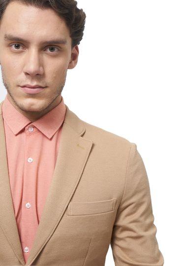 Basics | Basics Comfort Fit Champagne Beige 2 Button Knit Blazer