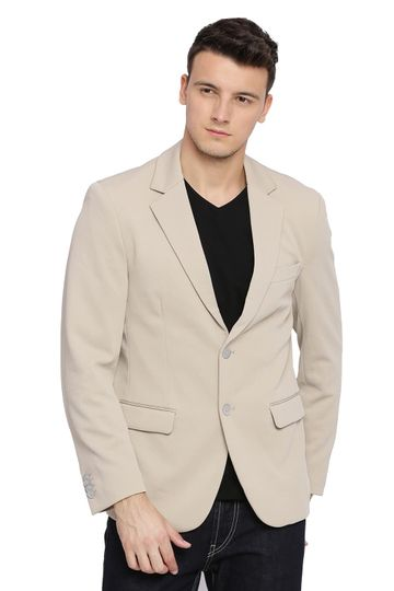 Basics | Basics Comfort Fit Oyster Beige 2 Button Knit Blazer
