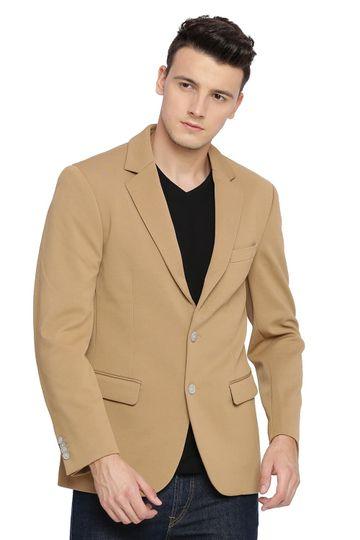 Basics | Basics Comfort Fit Tan 2 Button Knit Blazer