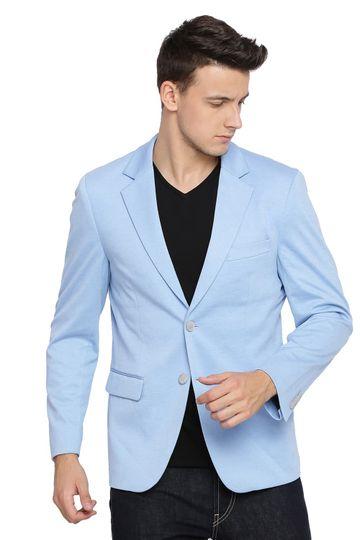 Basics | Basics Comfort Fit Placid Blue 2 Button Knit Blazer