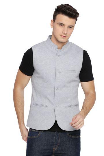 Basics | Basics Slim Bandhgala Ocean Dawn Blue Knit Jacket