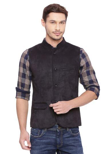 Basics | Basics Slim Bandhgala Jet Black Knit Jacket