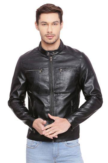Basics | Basics Comfort Fit Jet Black Faux Leather Jacket