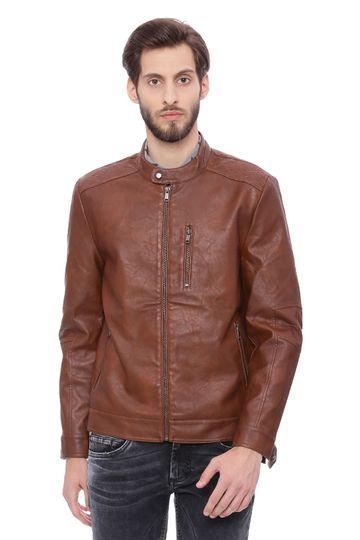 Basics | Basics Comfort Fit Friar Brown Faux Leather Jacket