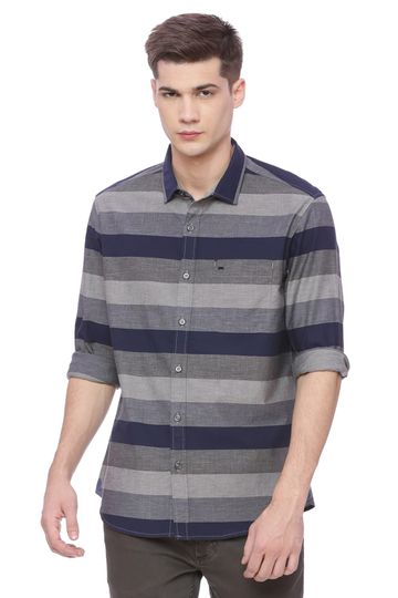 Basics | Basics Slim Fit Eclipse Navy Weft Stripes Shirt
