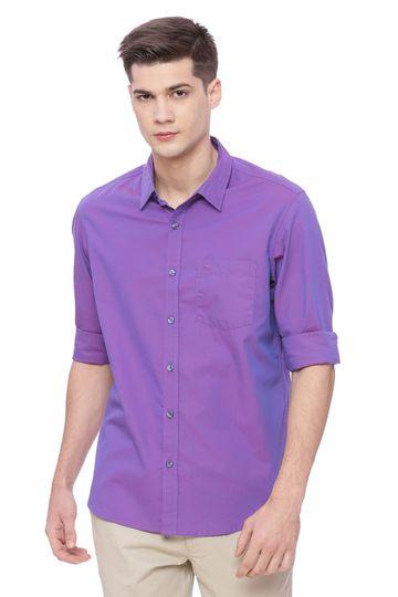 Basics | Basics Slim Fit Pansy Purple Chambray Shirt