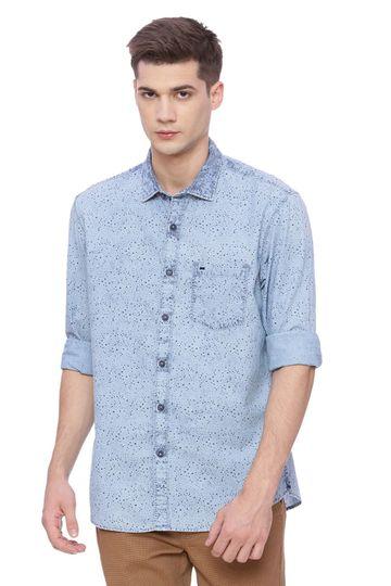 Basics | Basics Slim Fit Stone Wash Indigo Printed Shirt