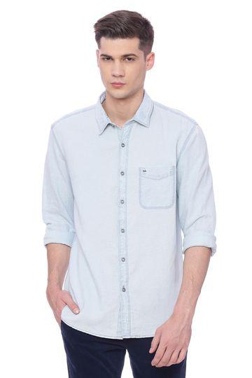 Basics | Basics Slim Fit Grisaille Blue Indigo Shirt