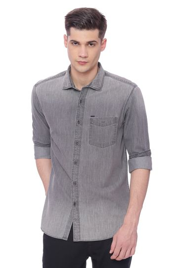Basics | Basics Slim Fit Dark Shadow Grey Denim Shirt