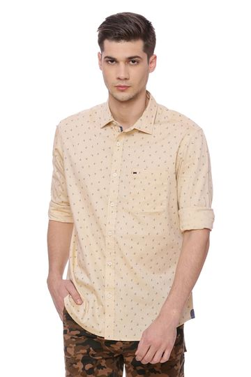 Basics | Basics Slim Fit Desert Mist Printed Shirt