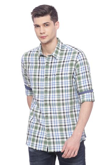 Basics | Basics Slim Fit Vineyard Green Checks Shirt
