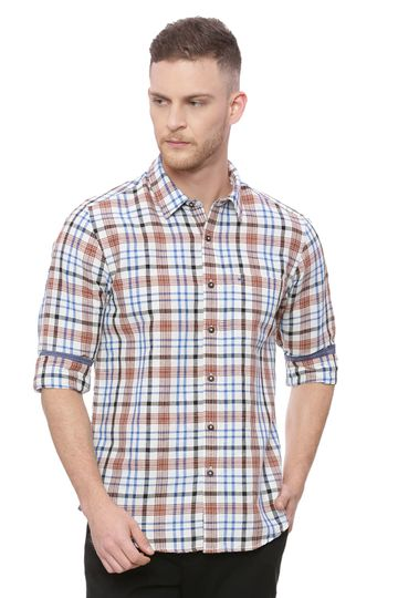 Basics | Basics Slim Fit Ginger Bread Brown Checks Shirt