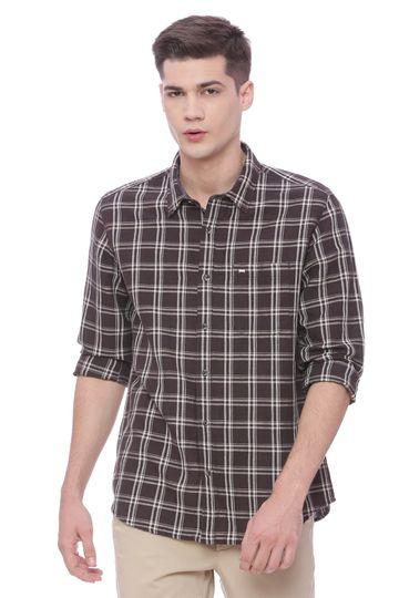 Basics | Basics Slim Fit Black Coffee Checks Shirt