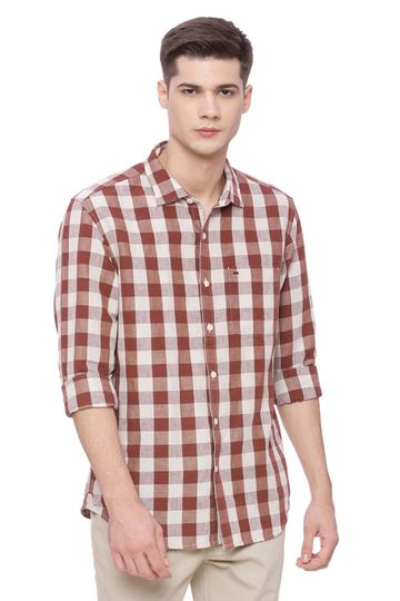 Basics | Basics Slim Fit Hot Chocolate Checks Shirt