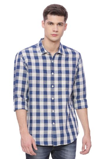 Basics | Basics Slim Fit Ensign Blue Checks Shirt