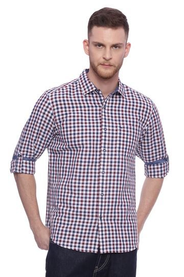 Basics | Basics Slim Fit Cordovan Maroon Checks Shirt