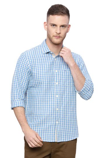 Basics | Basics Slim Fit French Blue Checks Shirt