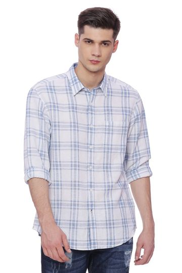 Basics | Basics Slim Fit Deep Water Checks Shirt