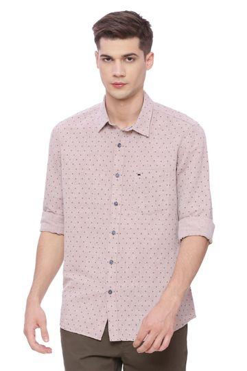 Basics | Basics Slim Fit Tawny Brown Printed Shirt