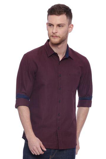 Basics | Basics Slim Fit Puce Maroon Cotton Linen Shirt